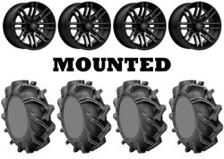 Kit 4 High Lifter Outlaw 3 Tires 31x9-16 On Msa M40 Rogue Machined Wheels Fxt
