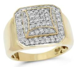Estate Wide .97ct Diamond 14k Yellow Gold Multi Row Octagon Square Menand039s Ring