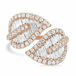1.58 Ct 14k Rose Gold Round Baguette Cut Diamond Open Wrap Leaf Cocktail Ring