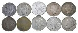 10 Cull 1922-1925 Peace Silver Dollars 1/2 Roll - 90 10 Face Coin Lot