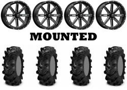 Kit 4 Itp Cryptid Tires 32x10-15 On Msa M41 Boxer Gloss Black Wheels Can