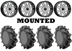 Kit 4 High Lifter Outlaw 3 Tires 35x9-20 On Msa M38 Brute Machined Wheels 550