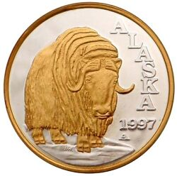Alaska Mint Official 1997 State Medallion Gold And Silver Medallion Proof 1 Oz