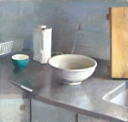 Dishes By Ilan Baruch Oil On Canvas 66x68 Cm Signed By Artist