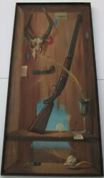 Trompe l'oeil PAINTING VINTAGE DALI STYLE SURREALISM OLD PIPE GUNS FRUIT SKULL