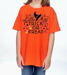 Halloween T-shirt Little Miss Trick Or Treat Candy Corn Witch Ghoul Costume