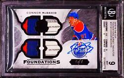 2015-16 UD The Cup Foundations Connor McDavid RC Quad Tag Patch AUTO 11 BGS 9