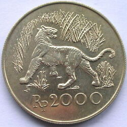 Indonesia 1974 Java Tiger 2000 Rupiah Silver Coin,unc