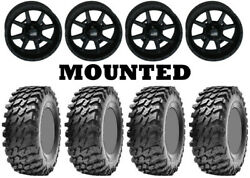 Kit 4 Maxxis Rampage Tires 32x10-14 On Frontline 556 Stealth Matte Black Pol