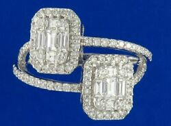 Estate Large 1.0ct Diamond 18kt White Gold Cluster Invisible Criss Cross Ring