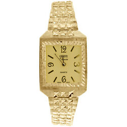 10k Yellow Gold Geneve Classic Nugget Watch 25mm X 25mm Black Or Champagne Dial