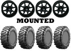 Kit 4 Maxxis Carnivore Tires 28x10-14 On Frontline 556 Stealth Matte Black Sra