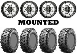 Kit 4 Maxxis Carnivore Tires 28x10-14 On Frontline 556 Machined Wheels Sra