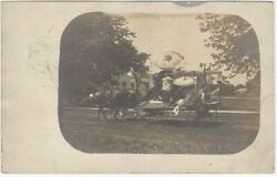 1909 Horse Drawn Float With Japanese And American Flags Real Photo Postcard