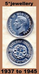 50 Silver 3d Three Pence Coins George 6th 1937 - 1945 Grade Fine To Unc