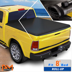 Vinyl Soft Top Roll-up Tonneau Cover For 15-18 Ford F150 Truck Fleetside 8ft Bed