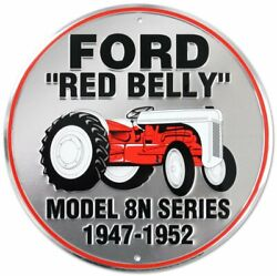 Ford Red Belly Tractor 12 Embossed Metal Circle Sign Model 8n 1947-1952
