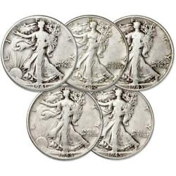 1941-1945 Liberty Walking Half Dollar 5 Coin Set Ag About Good 90 Silver 50c