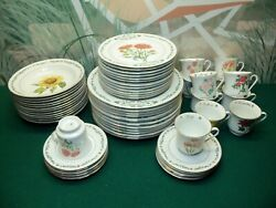 59 Piece Set Of Domestications China - 12 Months Of Flowers 1996