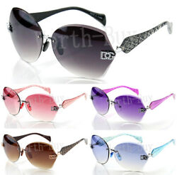 New Womens Sunglasses Shades Fashion Designer Rimless Round Hexagon Large Wrap $14.99