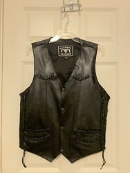 Womenandrsquos Black Motorcycle Leather Vest For Bikers Genuine Leather Braided Model