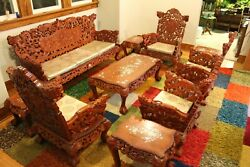 Vintage Hand-Carved Asian Complete Sitting Room Set with Mother of Pearl Inlay