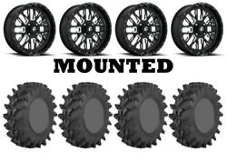 Kit 4 Sti Outback Max Tires 36x9-20 On Fuel Stroke Gloss Black Wheels Can