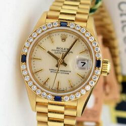 Rolex Lady President Gold Silver Tapestry Dial Sapphire Bezel 79178 WATCH CHEST