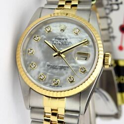 Rolex Datejust Stainless Steel & Gold Mother of Pearl Diamond 16233 WATCH CHEST