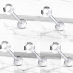 5 Pc 16g Clear Acrylic Ball Flexible Labret Cartilage Helix Retainers No Metal