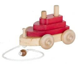 Boat Pull Toy - Red And Maple Wood Toy And Stacking Blocks Amish Handmade Usa