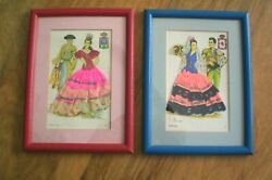 Elsi Gumier Framed Vintage Postcards Embroidery, Lace And Fabric Pair Spain