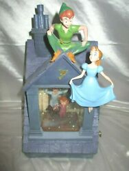 """Disney Peter Pan Wendy Snow Globe Musicial """"You Can Fly""""  Lights"""