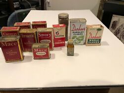 Vintage Lot Of 5 Spice Tins Schilling/ Durkees + 5 Box + Lilly Saccharin Bottle
