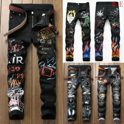 Men Skinny Jeans Floral Pant Frayed Jeans Ripped Jeans Denim Pant Casual Pants