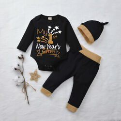 US My 1st New Year Gift Newborn Baby Boys Girls Romper Pants Outfit Clothes 3PCS