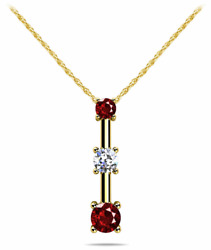0.51ctw 3 Stone Round Diamond And Ruby Bar Pendant Necklace-14k Gold