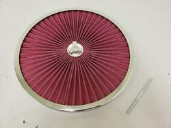 14 Round Washable Flow Through Air Cleaner Top W/ Chrome Trim Ring And Wing Nut