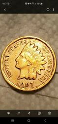 1907 Indian One Cent Good Condition Double E On Backandnbsp