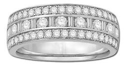 Wide 1.00ct Diamond 14kt White Gold 3d Row Channel 3 Row Pave Anniversary Ring