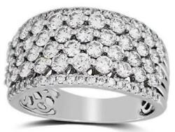 Estate Large 2.00ct Diamond 14kt White Gold Multi Row Invisible Anniversary Ring