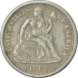 1862-s Liberty Seated Silver Dime Ef Uncertified