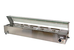 5 Deep Pans Bain Marie Food Warmer Steram Table With Temperature Display 1500w