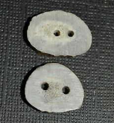 Set 2 Real Crosscut North American Deer Antler Handmade Natural Two Hole Buttons