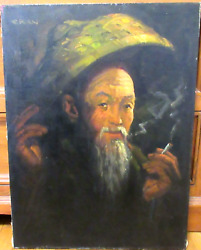 Chan Chinese Man Smoking Old Original Oil On Canvas Painting