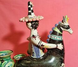 DAMAGED bjorn wiinblad carnival costume horse mcm vtg mask danish pottery statue