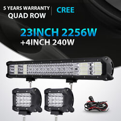 Quad Row 23inch 2256w Led Light Bar +240w Pods Offroad For Jeep Truck Atv 22 20
