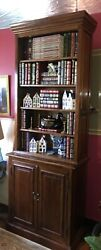 Decorative Two Piece Bookcase With Locking Double Door Base 90 3/4 Height