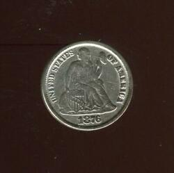 1876-cc Seated Liberty Dime   Almost Uncirculated-details   Carson City  cp2488