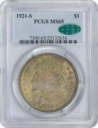 1921-s Morgan Dollar Ms65 Pcgs Cac Heavy Golden Toned W/ Hints Of Green Obv